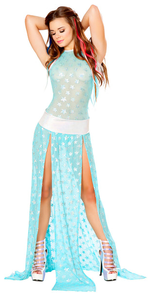 Star Sequin Mesh Gypsy Skirt by J Valentine - HussyStore - 1