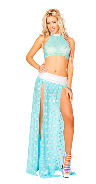 Aqua Silver Star Light Up Star Shorts Set by J Valentine - HussyStore - 3