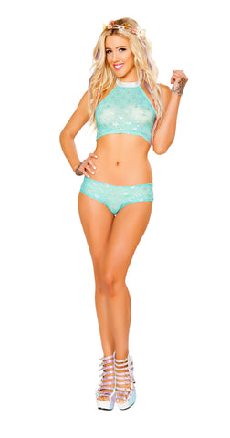 Aqua Silver Star Light Up Star Shorts Set by J Valentine - HussyStore - 1