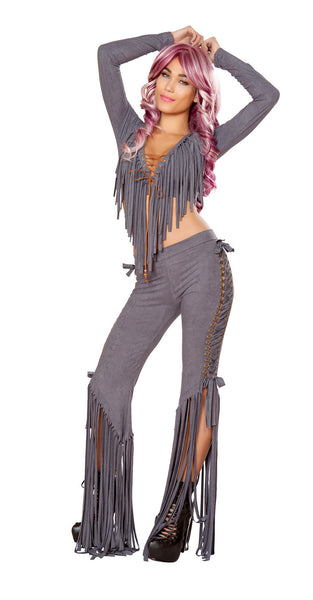 Gunmetal Faux Suede Lace Up Fringe Set by J Valentine - HussyStore - 1