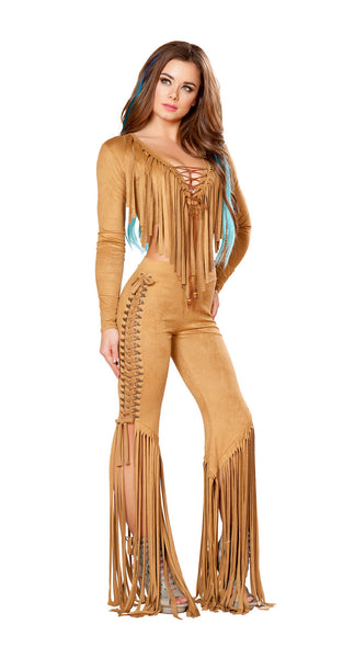 Honey Faux Suede Lace Up Fringe Set by J Valentine - HussyStore - 1