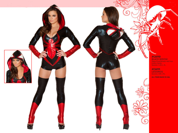 Black Widow Hooded Romper Costume by J Valentine - HussyStore - 2
