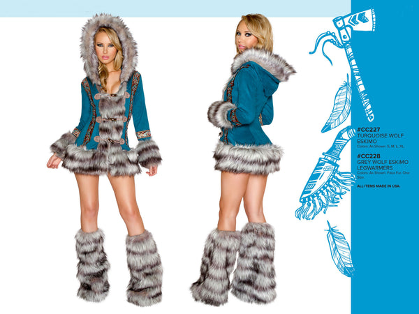 Turquoise Wolf Eskimo Coat with Toggle Closures by J Valentine - HussyStore - 2