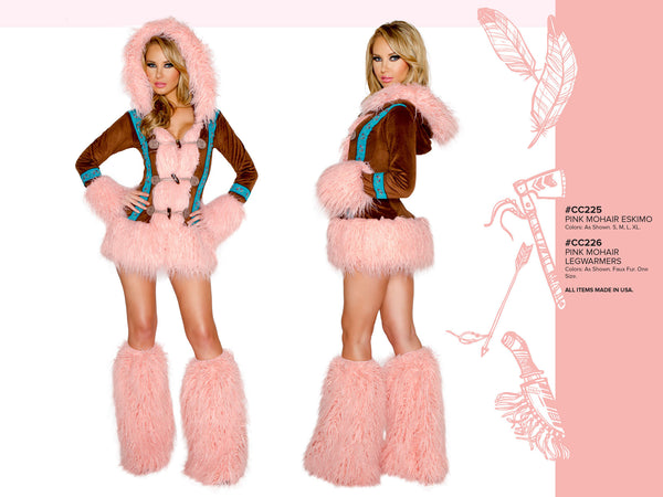 Pink Mohair Eskimo Coat with Toggle Closures by J Valentine - HussyStore - 2