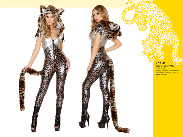 Silver Leopard Hooded Catsuit with Tail by J Valentine - HussyStore - 3