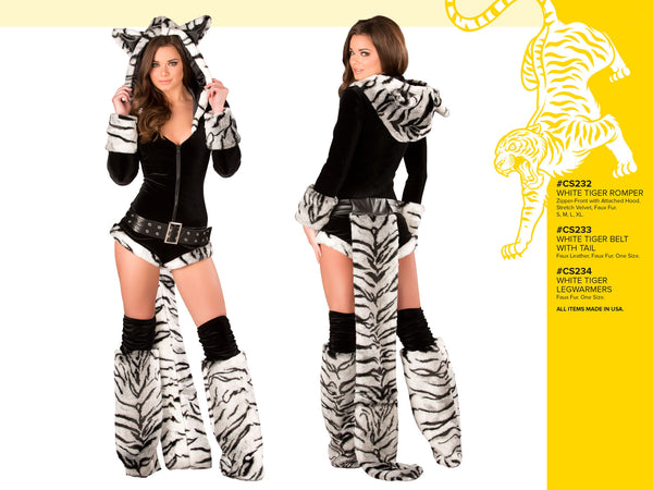 Black & White Tiger Romper Costume by J Valentine - HussyStore - 2