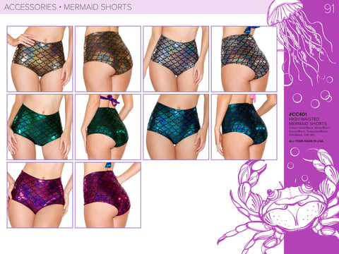 Mermaid High Waist Shorts by J Valentine - HussyStore - 1