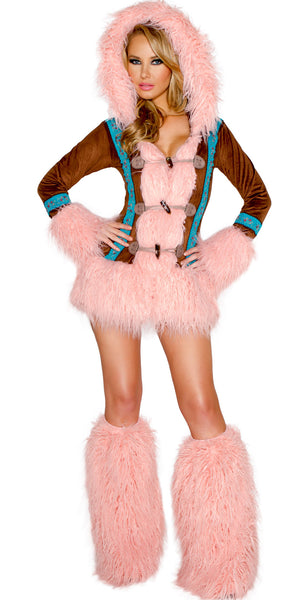 Pink Mohair Eskimo Coat with Toggle Closures by J Valentine - HussyStore - 1