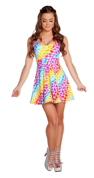 Rainbow Heart A Line Dress by J Valentine - HussyStore - 1