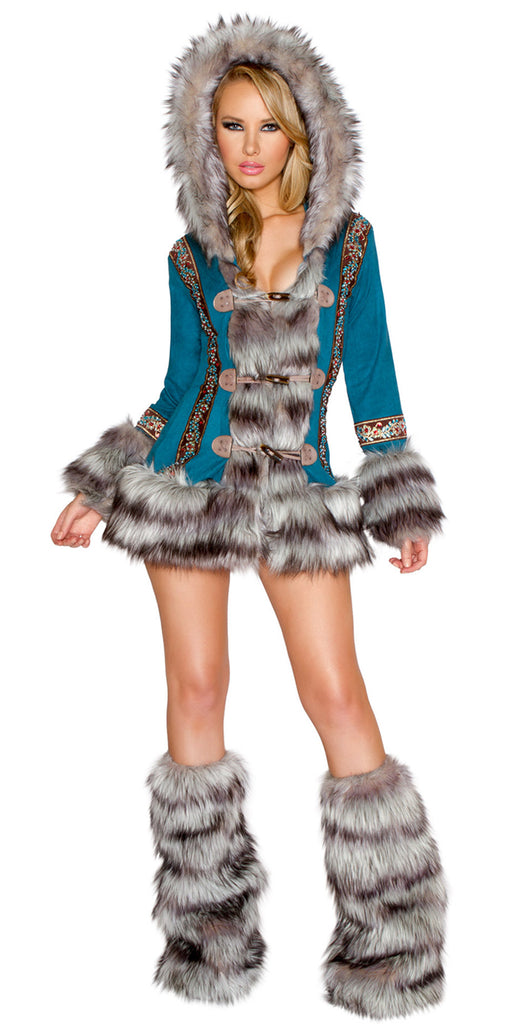 Turquoise Wolf Eskimo Coat with Toggle Closures by J Valentine - HussyStore - 1