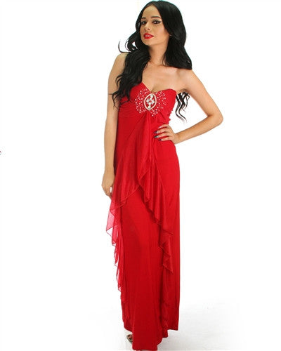 e5348bd57122 Classy burgundy red strapless maxi dress with bead detail chiffon drape