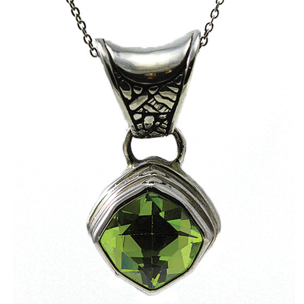 Sterling Silver Lime Quartz Pendant w/ 18 inch chain