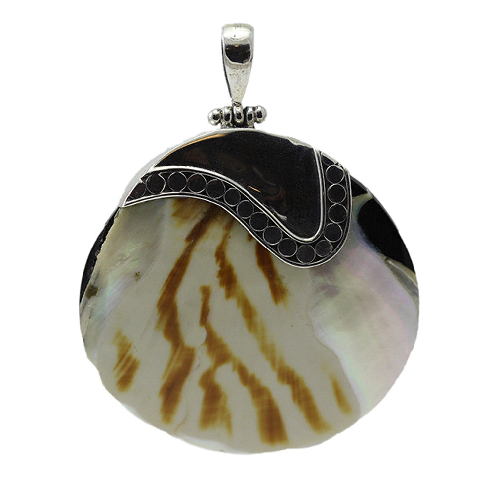 Sterling Silver Multi-Colored Shell with Detailed Bail