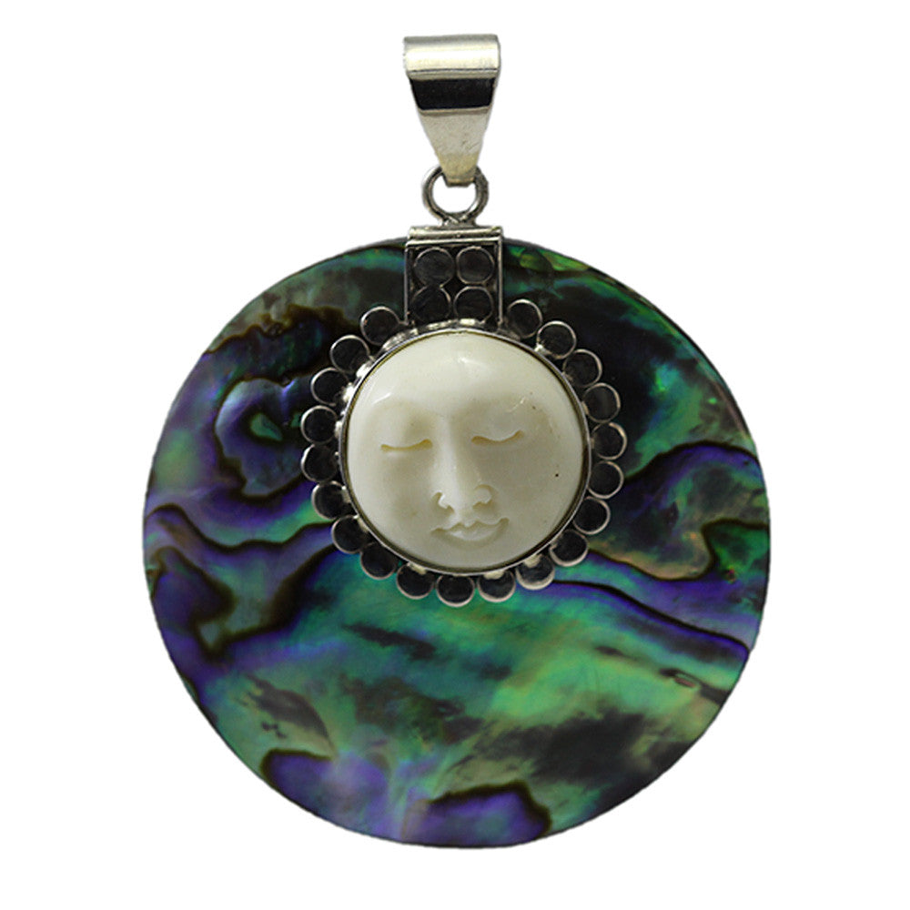Round Abalone Shell Pendant with Carved Bone Face and Sterling Silver Detailing