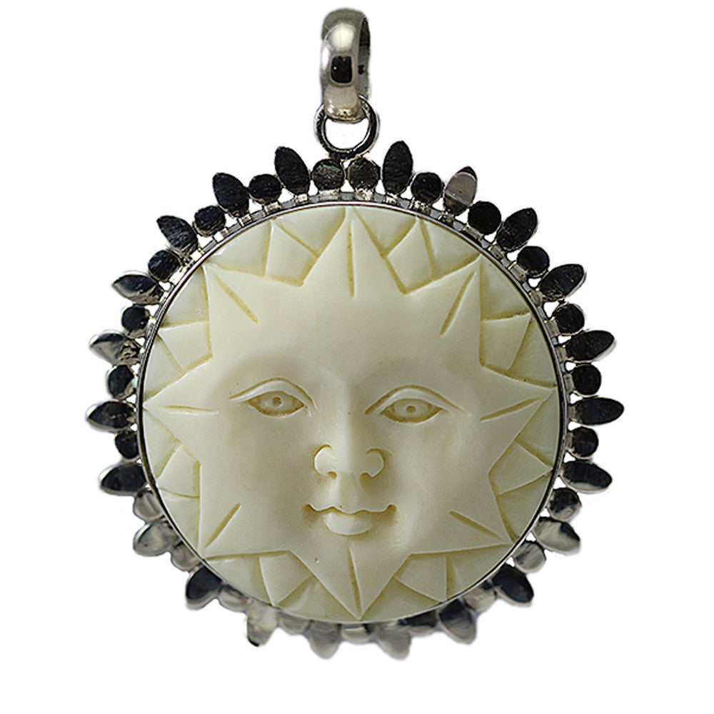 Bone Carved Sun with Sterling Silver Detailing
