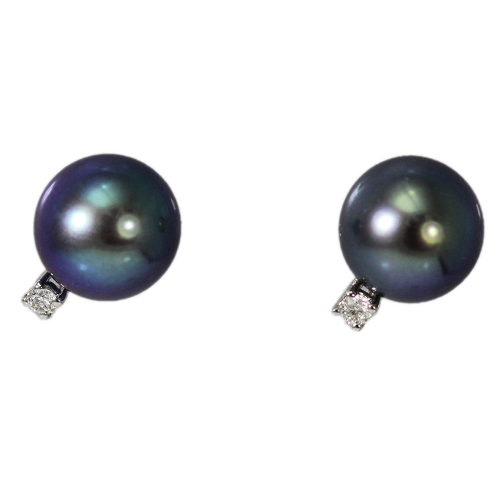 14K White Gold Black Pearl with Diamond Stud Earrings