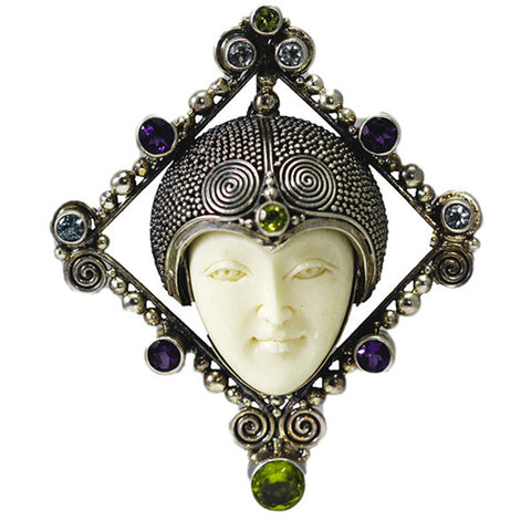 Sterling Silver Carved Bone Face Pin/Pendant with Amethyst, Blue Topaz and Peridot