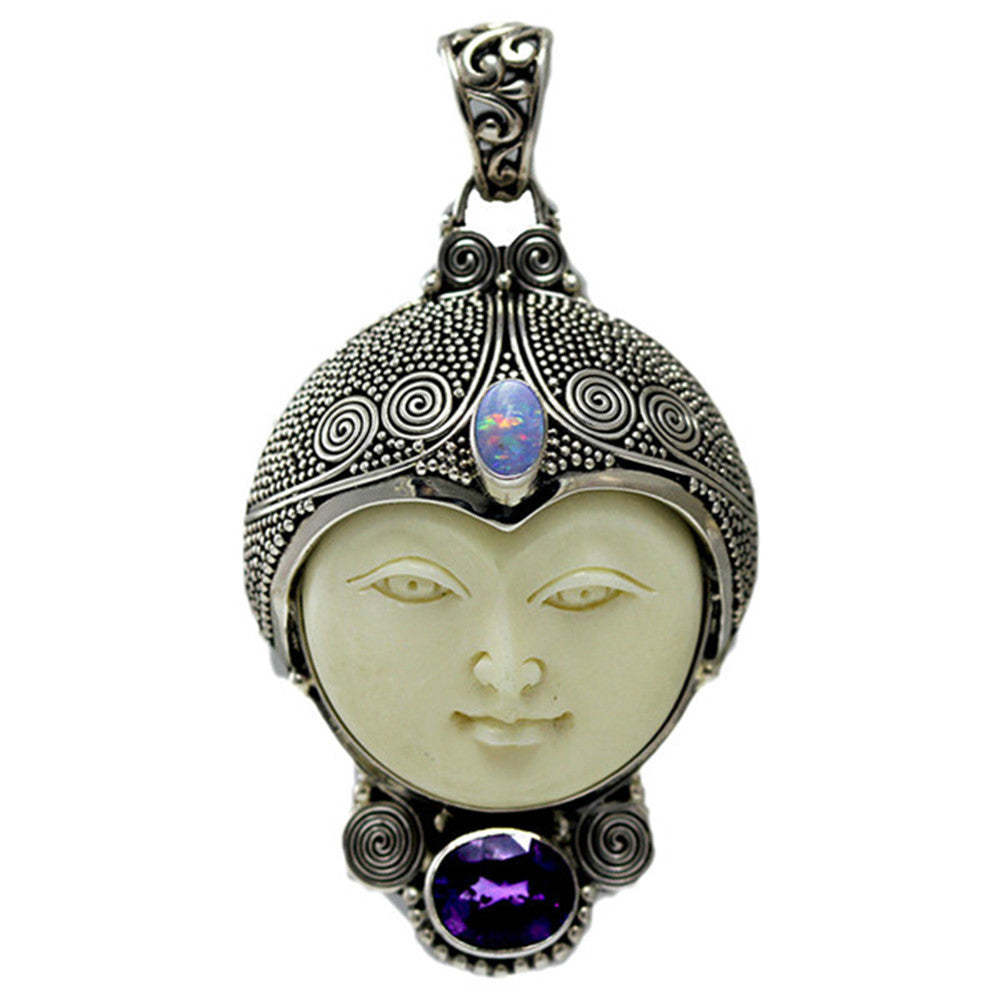 Sterling Silver Carved Bone Face with Opal and Amethyst