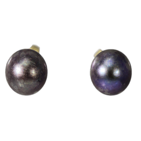 14K Gold Black Pearl Stud Earrings