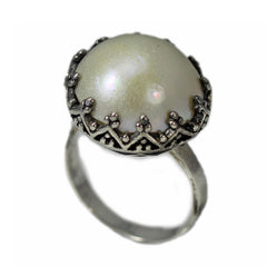 Sterling Silver Button Pearl Ring