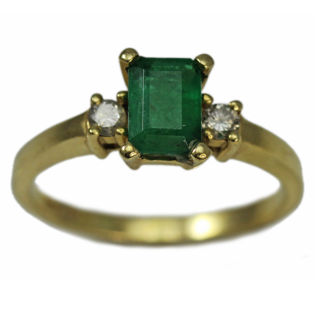 14K Yellow Gold With Emerald and Double Diamond Ring