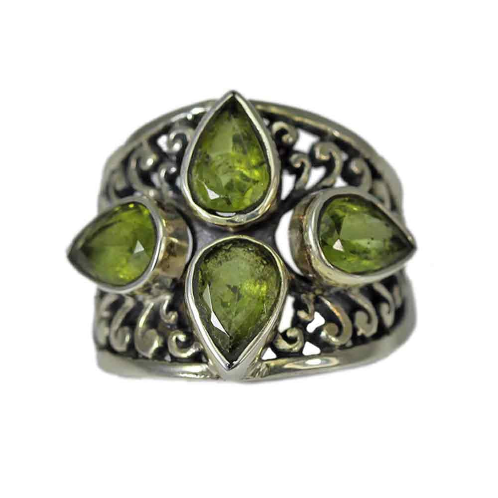 Quadruple Pear-Shaped Peridot Ring