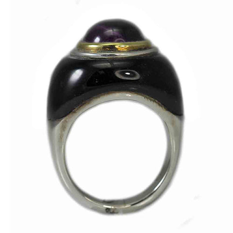 18K Yellow Gold and Sterling Silver Black Onyx and Amethyst Ring