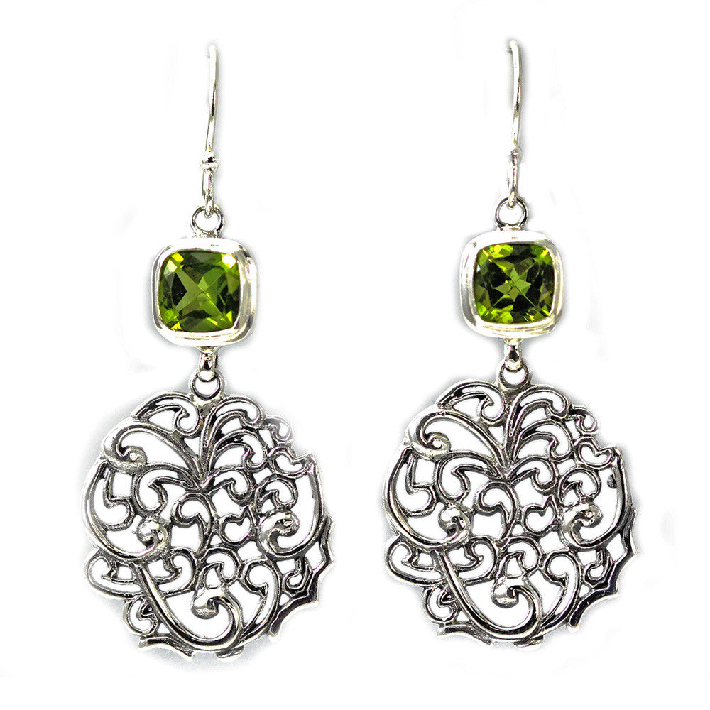 Dangling Sterling Silver and Peridot Earrings