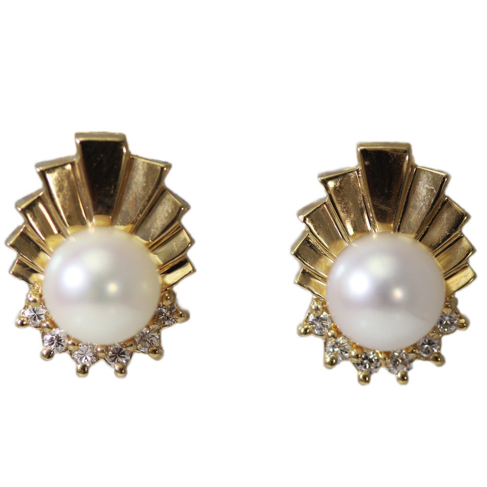 14k Gold Pearl And Diamond Earrings