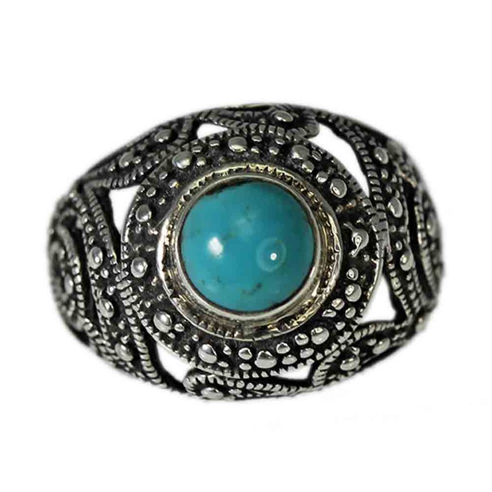 Beaded and Filigree Turquoise Ring