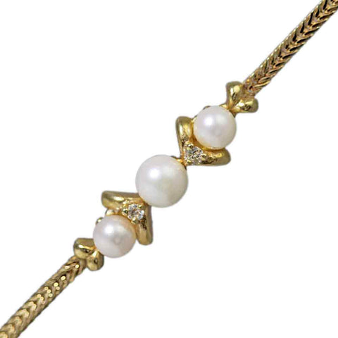 14K Gold Pearl & Diamond Bracelet