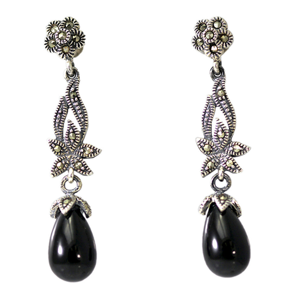 Dangling Black Onyx and Marcasite Earrings
