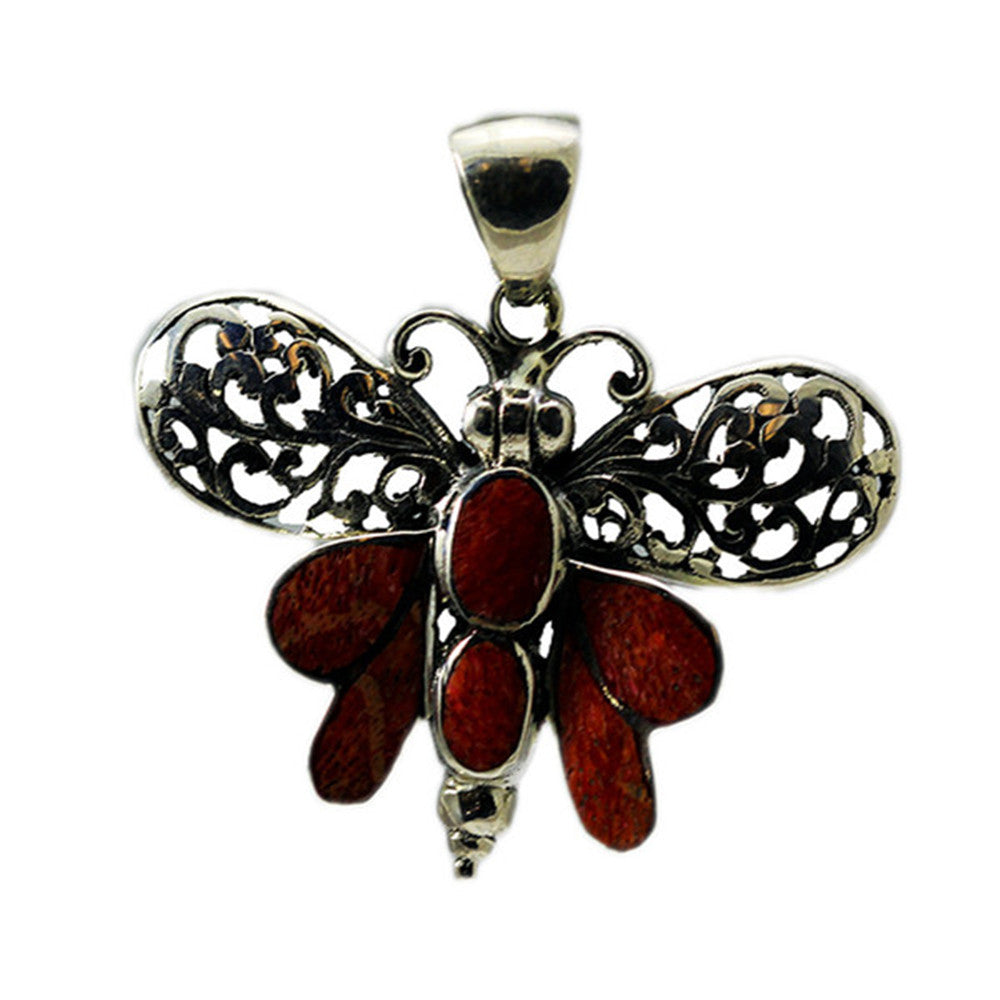 Sterling Silver Red Coral Butterfly Pendant