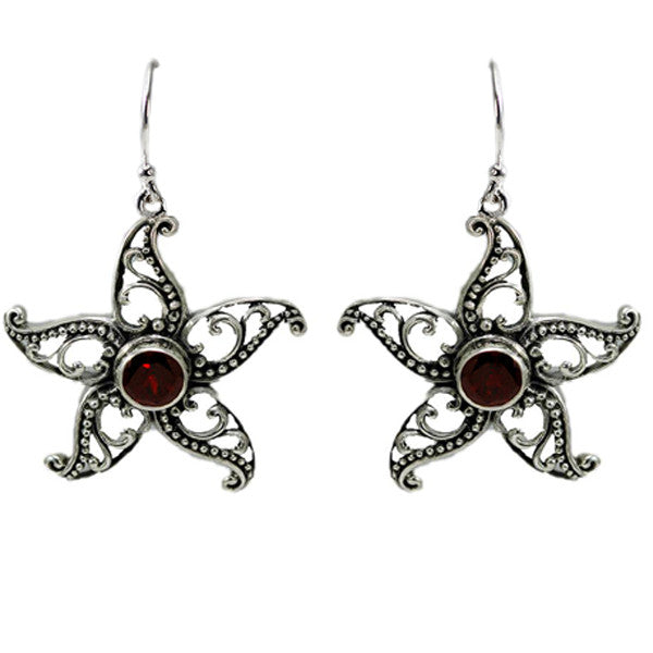 Beaded Garnet Star Earrings