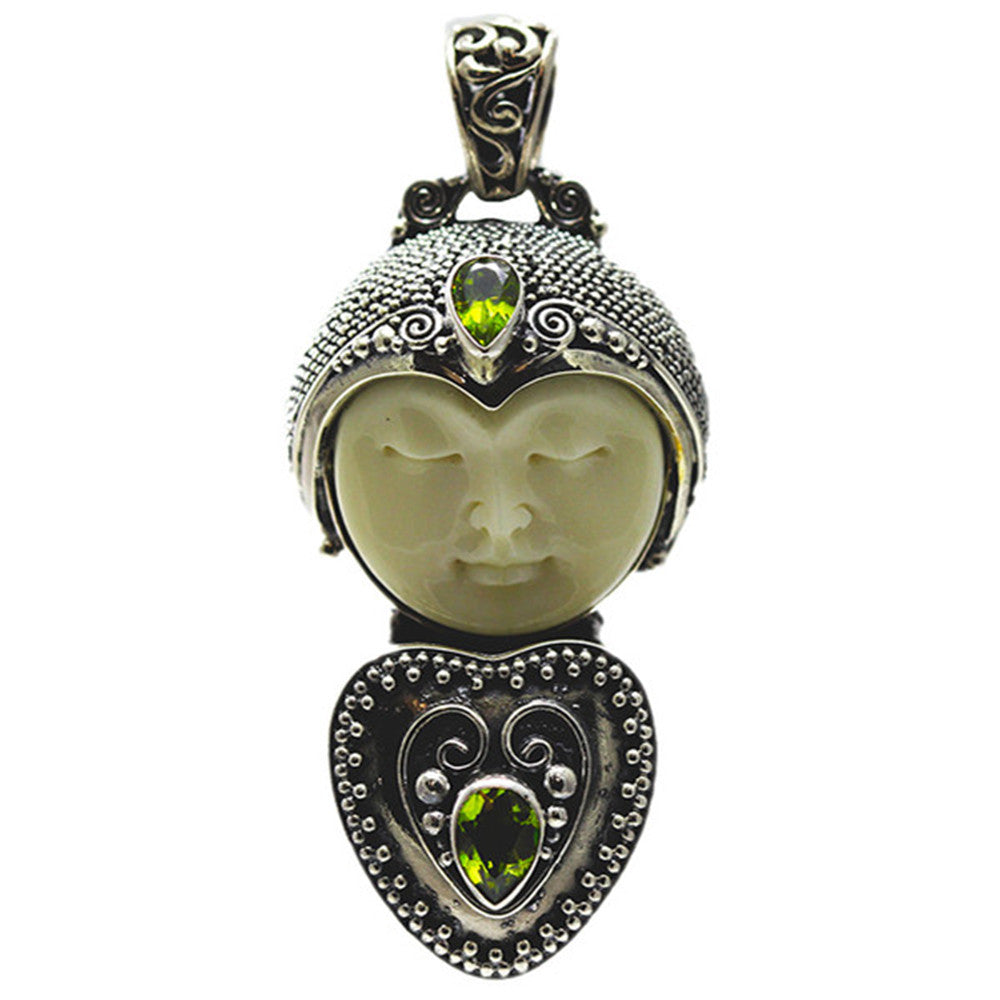 Sterling Silver Carved Bone Face with Peridot Locket Pendant