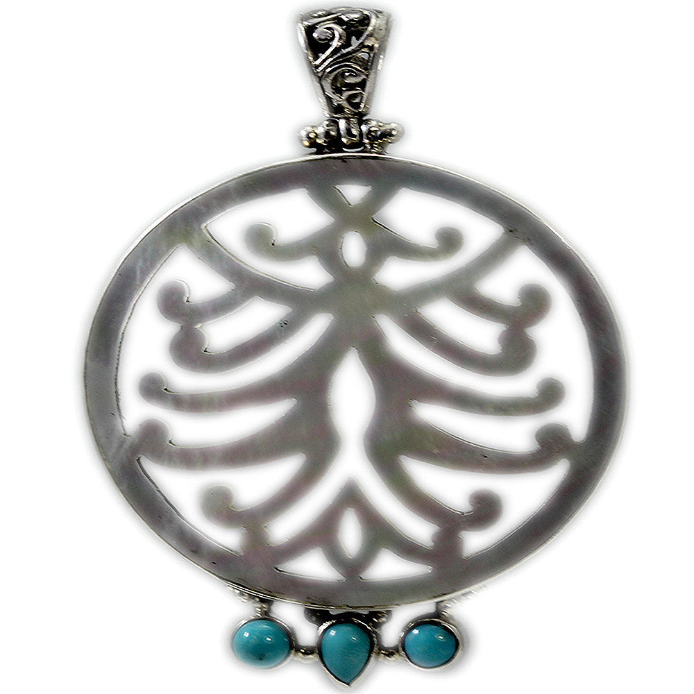 Round Mother of Pearl Pendant with Turquoise and Sterling Silver Bail