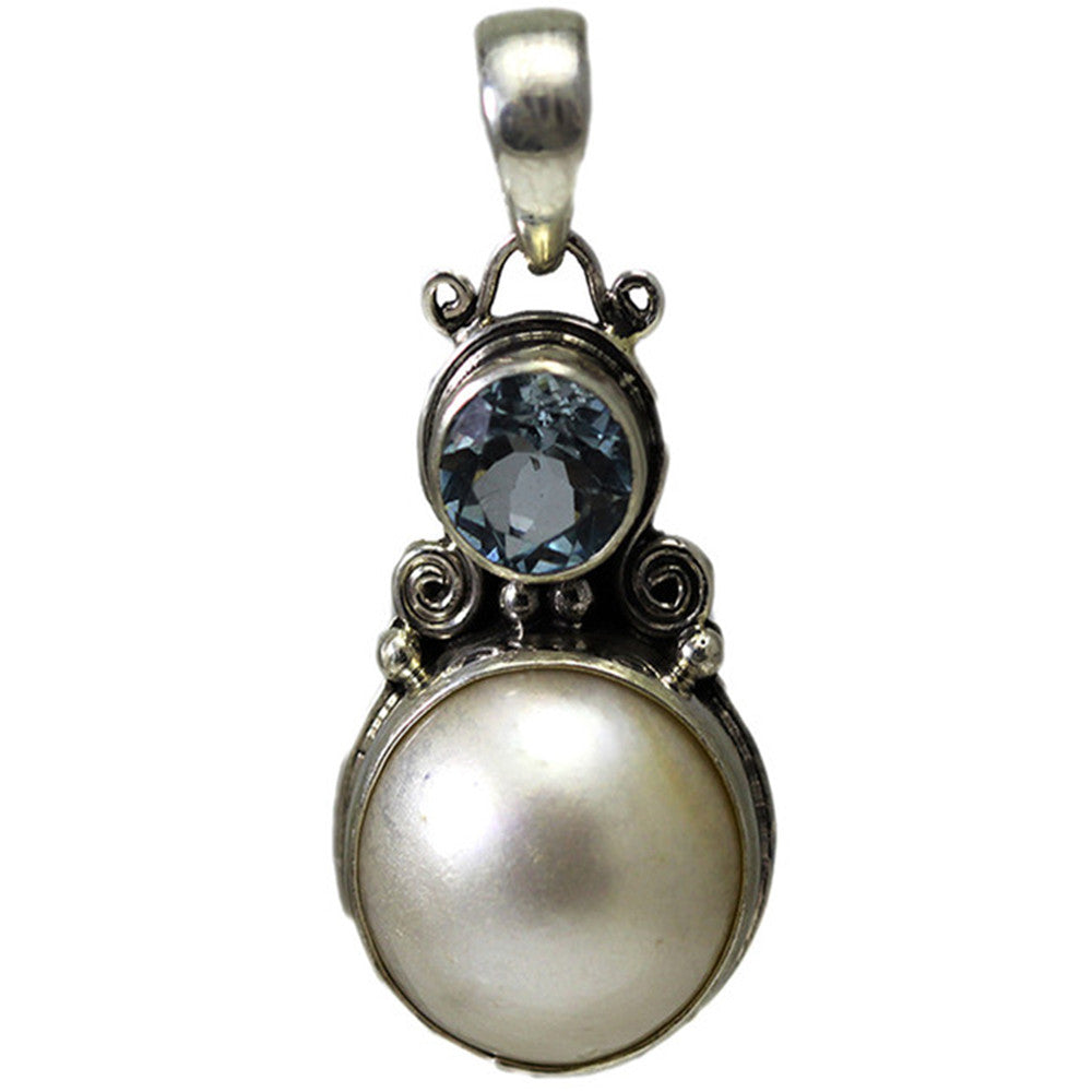 Sterling Silver Pendant with Blue Topaz and Mabe Pearl
