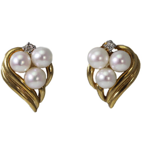 14K Flame Triple Pearl Stud Earrings