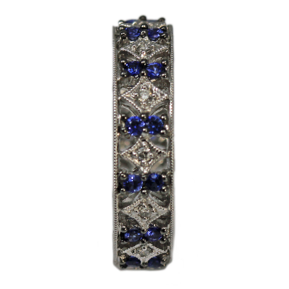 18K White Gold Sapphire and Diamond Eternity Band Ring