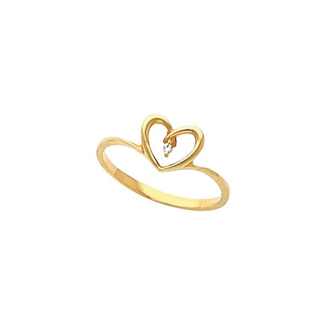 10K Yellow Gold 1.3 mm Heart Ring Mounting