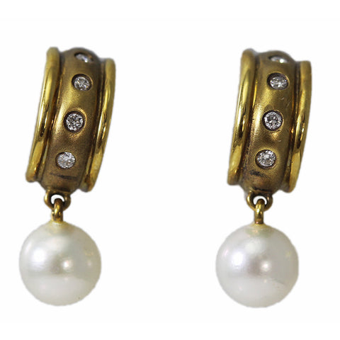 14K Gold Half Circle Pearl and Diamond Earrings