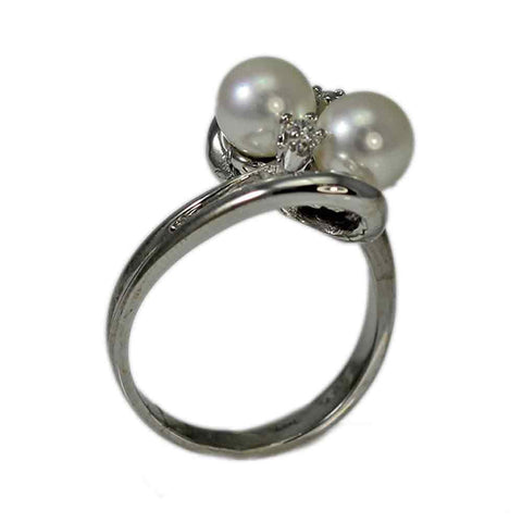 14K White Gold Double Pearl and Diamond Ring