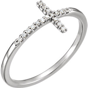 14K White .085 CTW Diamond Sideways Cross Ring