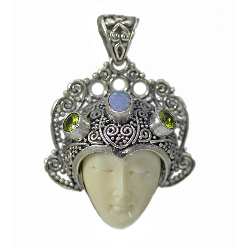Peridot, Opal and Carved Bone Face Pendant