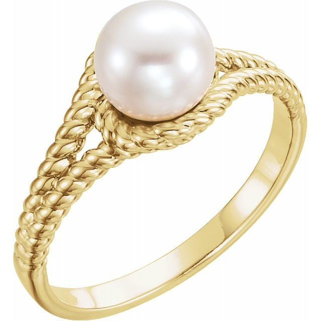 14K Gold Freshwater Pearl Rope Ring