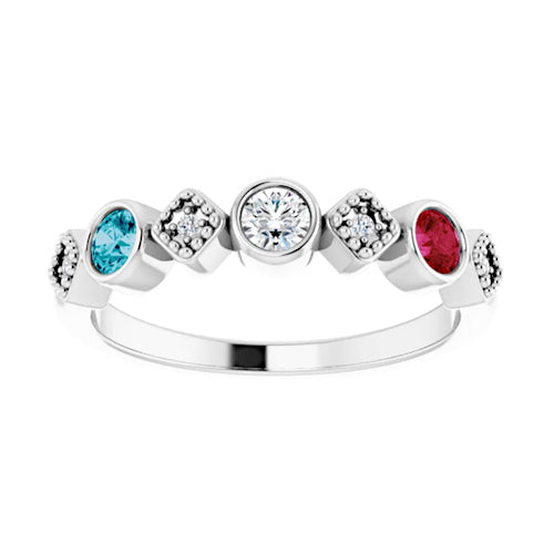 14K White Gold Diamond And Gemstone Family Stackable Ring