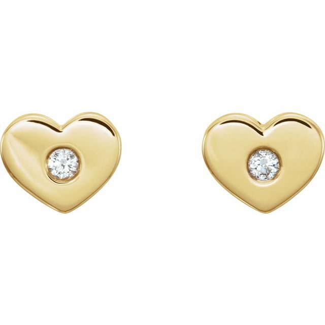14K Yellow .06 CTW Diamond Heart Earrings