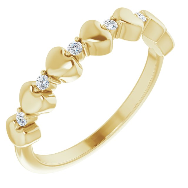 14K Yellow 1/10 CTW Diamond Stackable Heart Ring