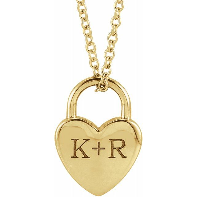 14K Yellow Engravable Heart Lock 16-18