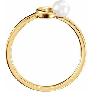 14K Yellow Freshwater Pearl Crescent Moon Ring